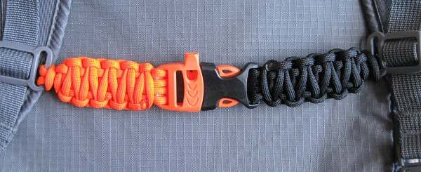Sternum strap made from paracord using an emergency whistle buckle - make your own gear