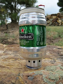 Use a homemade alcohol stove to boil water or make coffee