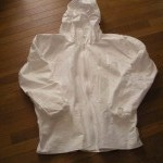 Lightweight Tyvek rain jacket made from coveralls.