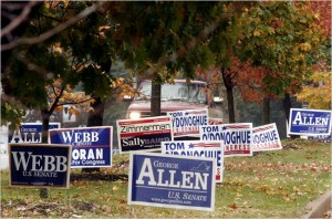 Political yard signs can be used for cycling