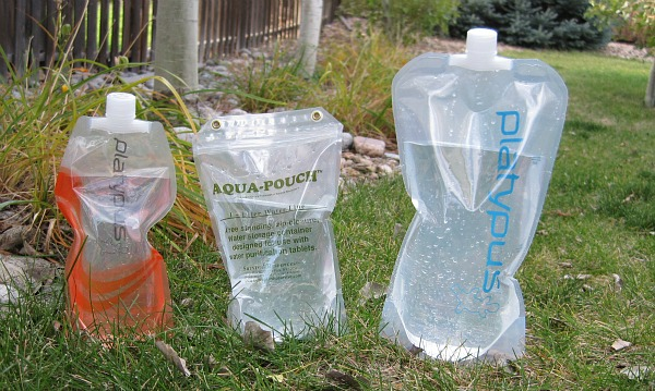 Water pouches and bottles to carry additional water