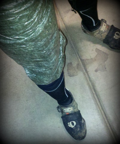 cuben fiber rain pants and wool socks