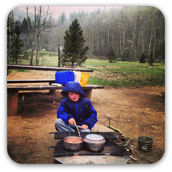 cooking over a campfire in the Colorado mountains