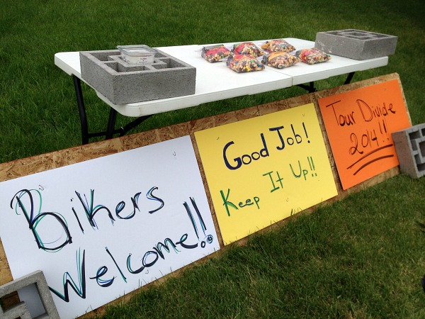 On the outskirts of Helena, someone put together trail mix bags and some encouraging signs.